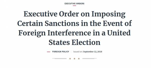 President Trump's Executive Order from 2018 Covering Interference in US Elections By Foreign Entities Looks Relevant Today 1