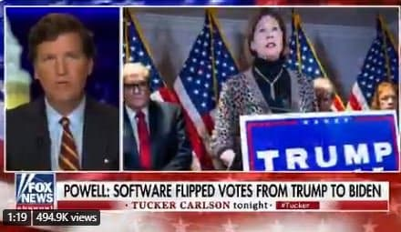 AWFUL. Tucker Carlson Doubles Down, Hits Sidney Powell and Says No Evidence of Switching Votes — HERE ARE 11 TIMES THEY GOT CAUGHT SWITCHING VOTES (Video) 1