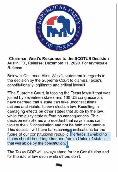 Texas GOP Chairman Allen West Suggests Succession After SCOTUS Allows Complete Lawlessness with 2020 Elections 1
