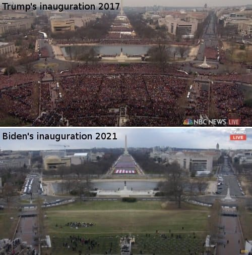 It's Clear Based on a Comparison Between President Trump's 2017 Inauguration and Biden's Inauguration that Biden Has No Support and Election Is Suspect 1