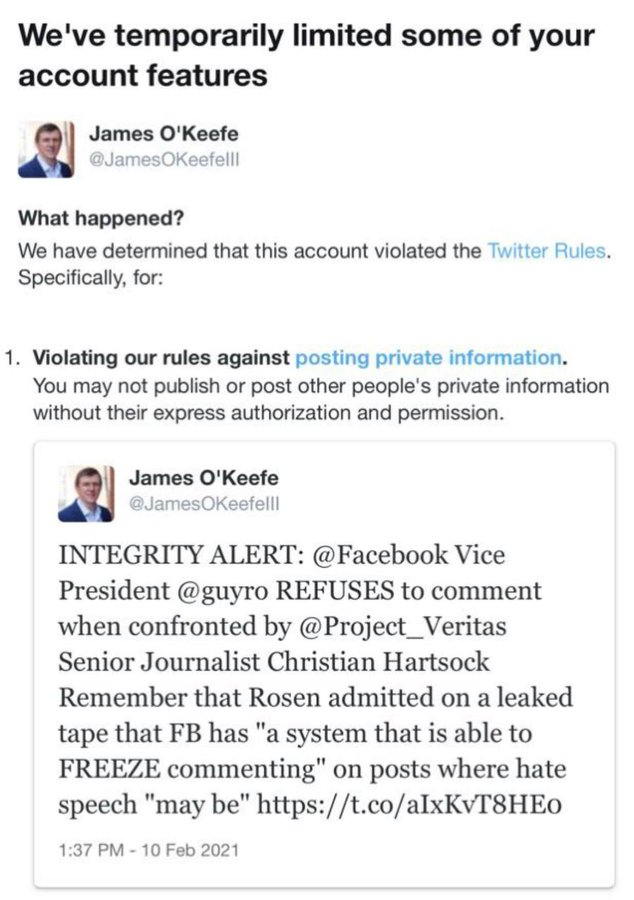 Twitter Goes After James O'Keefe And Project Veritas For Exposing Facebook Censorship 1