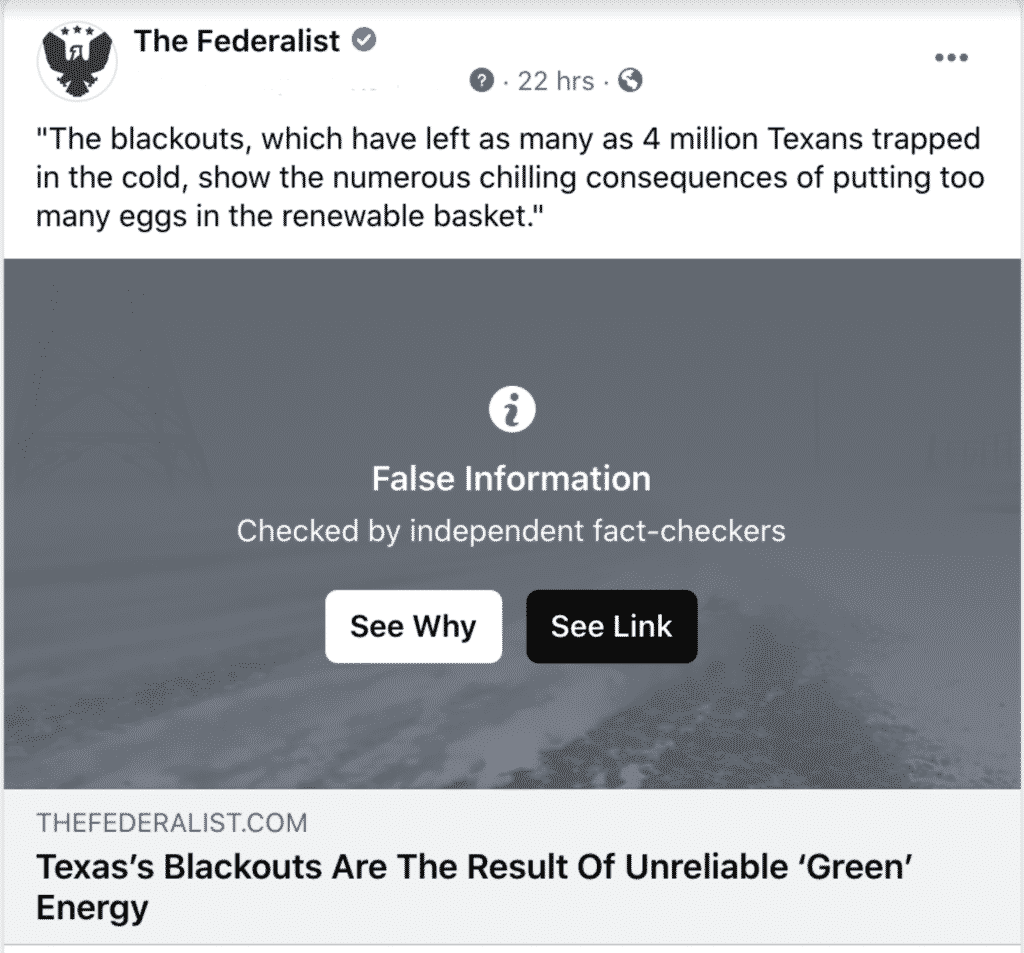 Left-Wing Facebook 'Fact-Checker' Censors The Federalist For Highlighting Texas Power Failures 1