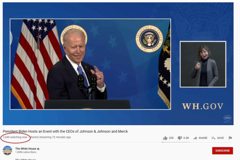 Joe Biden Mumbles Through COVID Talk — Only 1,049 People Watch the Speech Live, Only 1.4K Retweets! — But Joe had 81 Million Votes? What a Crock! 1