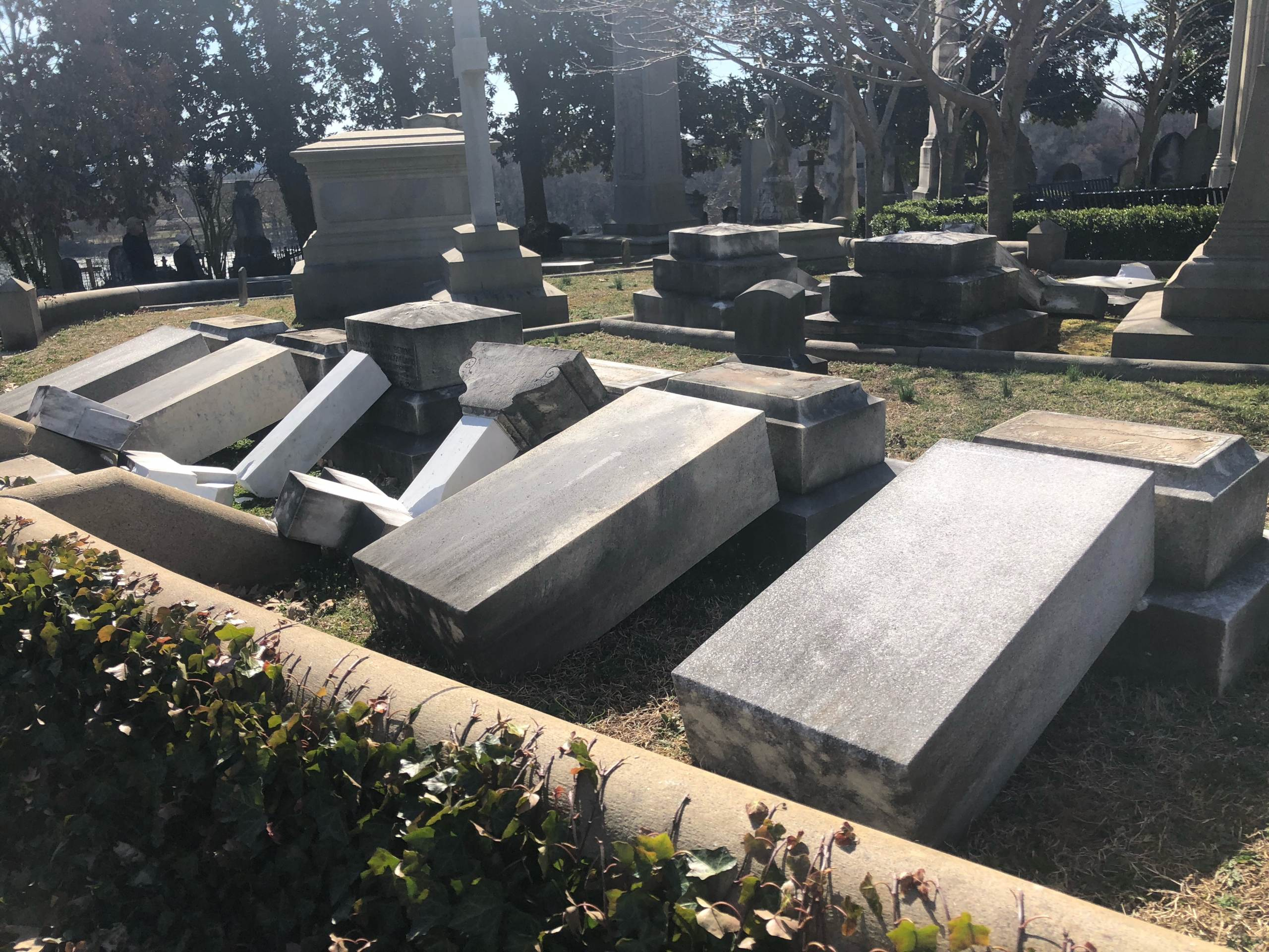Vandals Destroy Presidents Circle Gravestones at Hollywood Cemetery in Richmond, Virginia 1