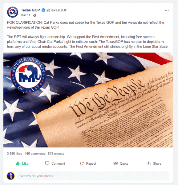 BREAKING: Texas GOP Votes To Delete Its Gab Account After Abbott Smears Platform As 'Anti-Semitic' 1