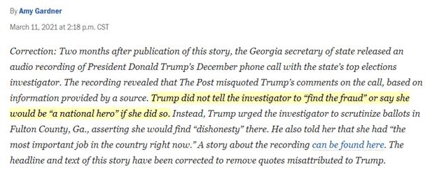 Washington Post Corrects Fake Story on Trump's Contact w/ Ga. Election Officials 1