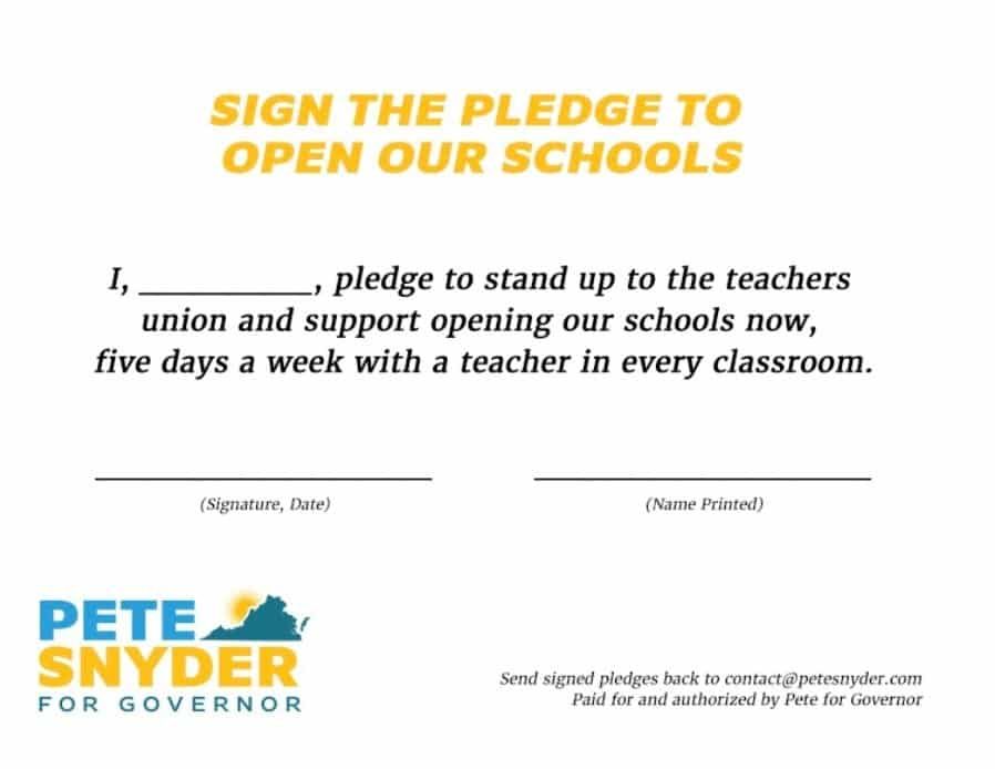 Virginia GOP Gubernatorial Candidate Challenges Opponents To Join The Pledge To Reopen Schools 1