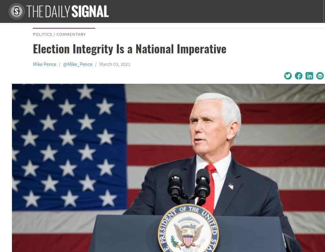 What? After REFUSING to Address Historic Fraud in 2020 Election and Stabbing Trump in the Back – Turncoat Mike Pence Is Now Lecturing on Election Integrity 1