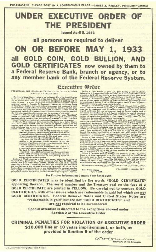 88 Years Ago Today, FDR Banned Gold. Will A Bitcoin Ban Be Next? 1