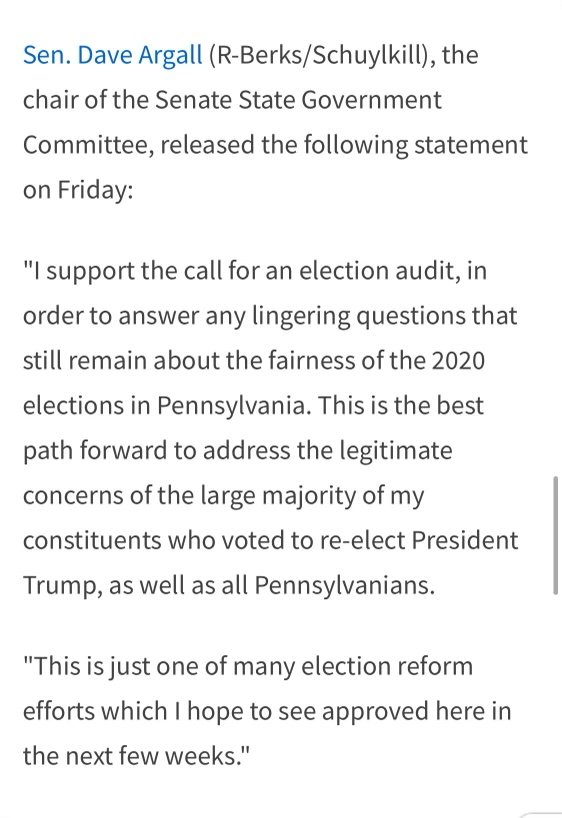 """PA STATE SENATOR DAVE AGRALL: """"I Support The Call For An Election Audit – This is the Best Path Forward"""" 1"""
