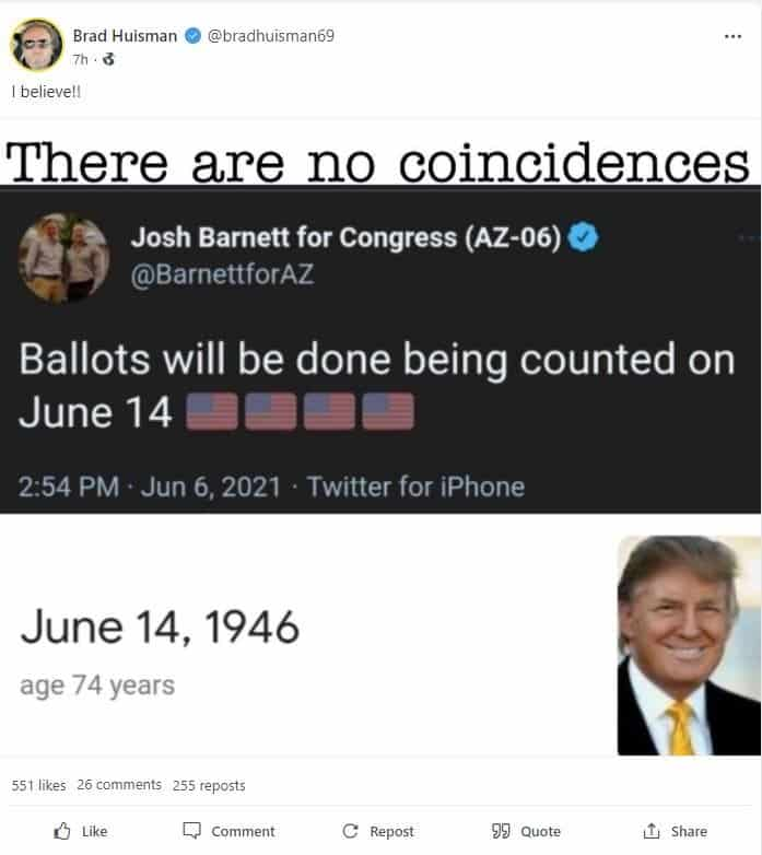REPORT: Ballots Will be Done Being Counted in Arizona on June 14th – On Trump's Birthday 1