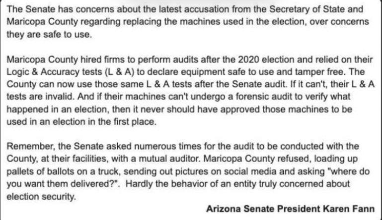 Arizona Senate President Karen Fann Debunks County's 'Need' To Replace Machines 1