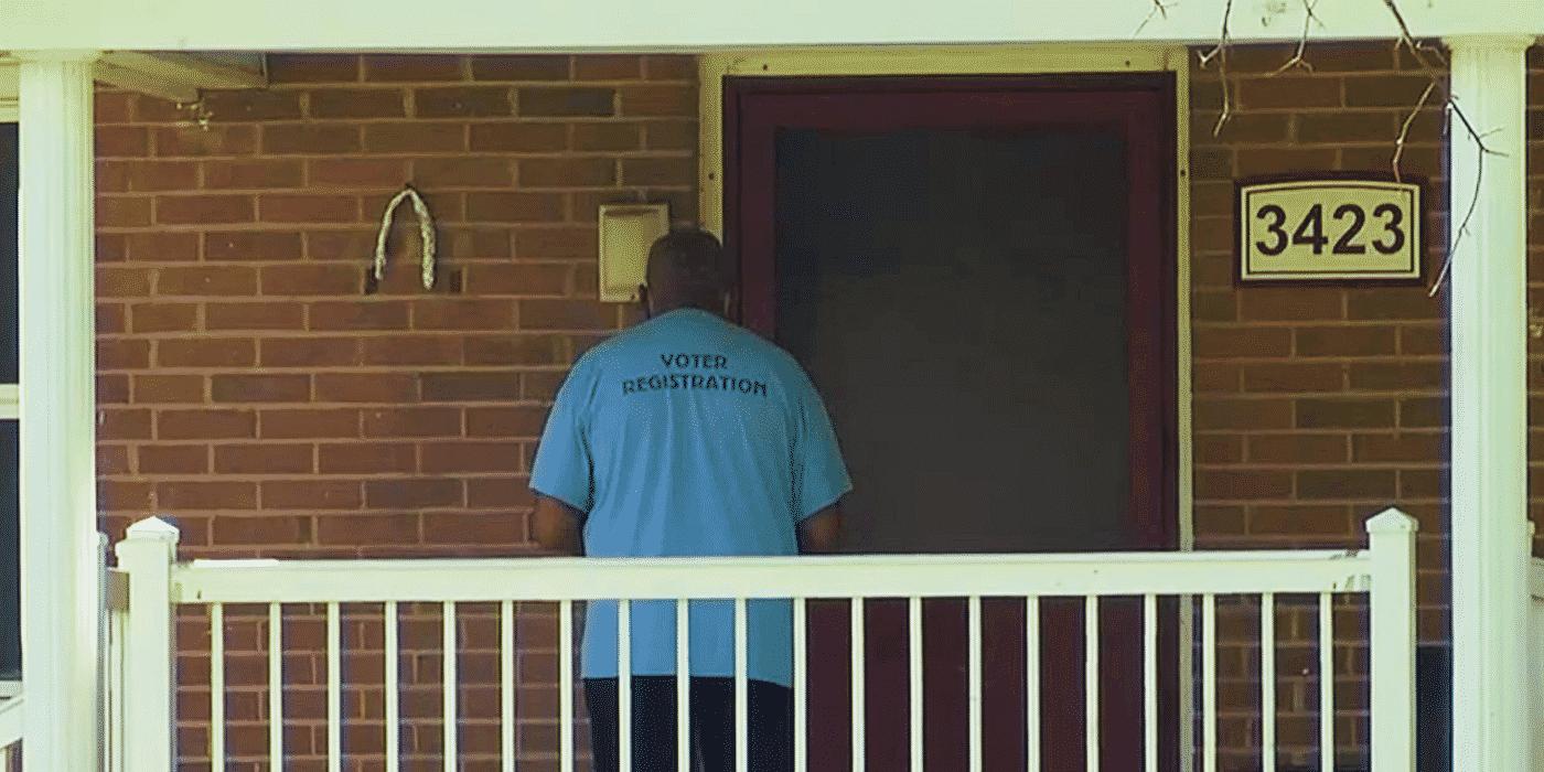 Why is a Biden Door-to-Door Vax Pusher Wearing a 'Voter Registration' T-Shirt? 1